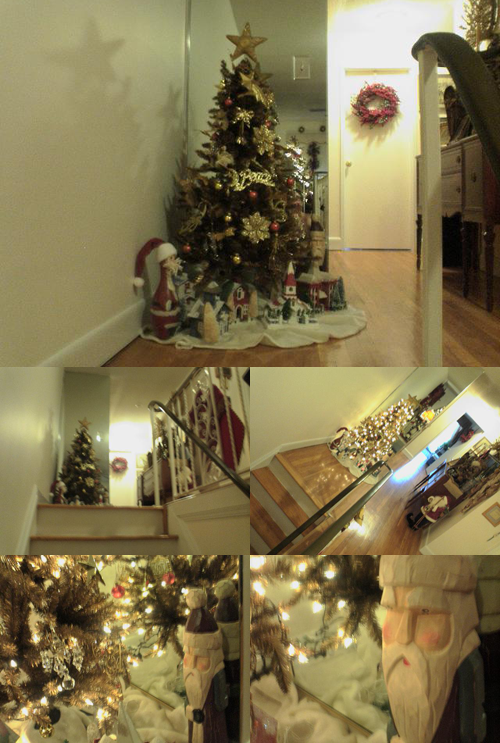 Marie's Christmas tree on our stairway landing