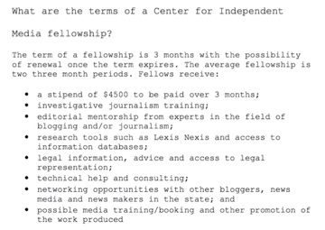 Center for Independent Media fellowship application