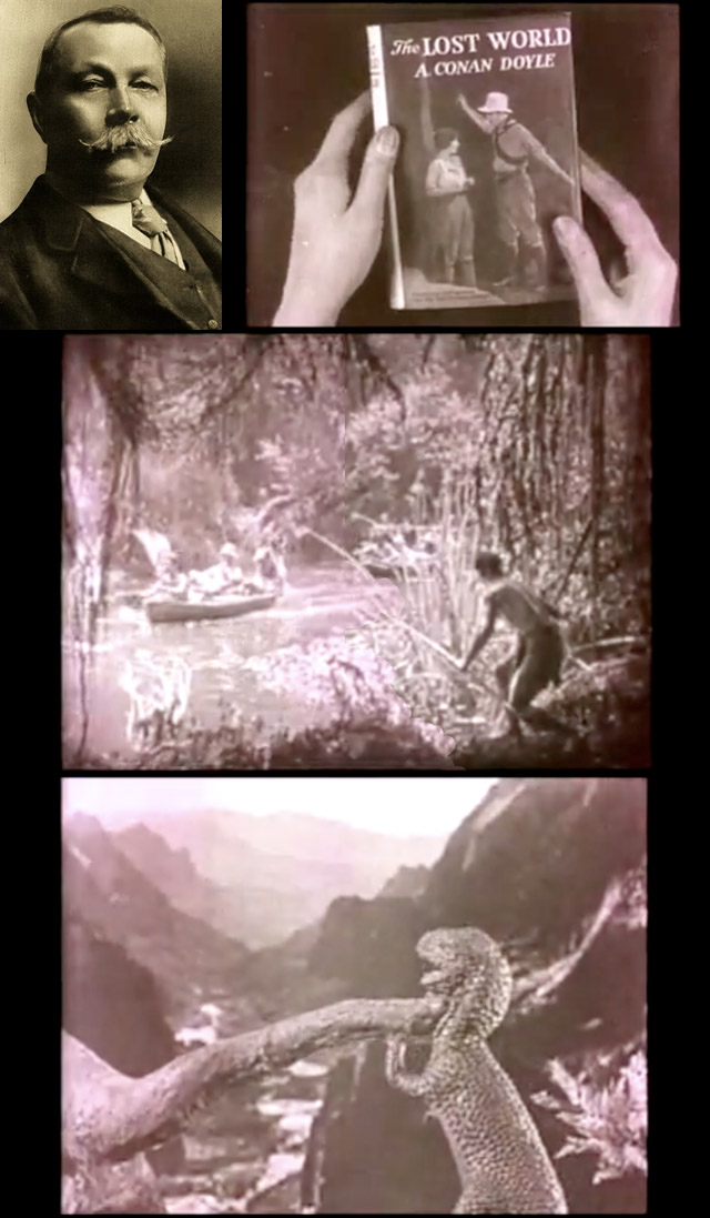 montage of Sir Arthur Conan Doyle's The Lost World, using shots from 1925 film