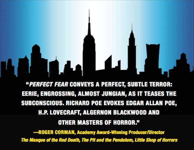 NYC Skyline from Cover of Perfect Fear: Four Tales of Terror, by Richard Poe