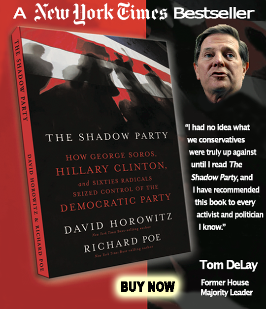 Advertisement for book: The Shadow Party - How George Soros, Hillary Clinton and Sixties Radicals Siezed Control of the Democratic Party